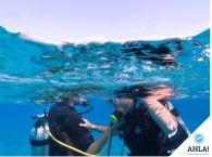 отрабатывание упражения Дыхание с напарником на курсе Open Water Diver